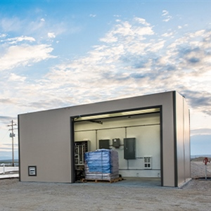 DuraFiber building for wastewater treatment plant with overhead door